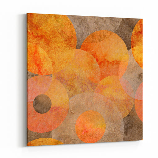 Abstract Apricot Watercolor Seamless Pattern Raster Image Orange Textured Circles Canvas Wall Art Print