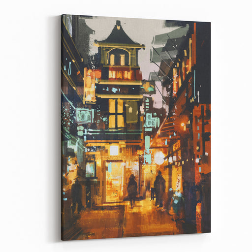 Shopping Place And Cafes With Illumination At Night,illustration Painting Canvas Wall Art Print