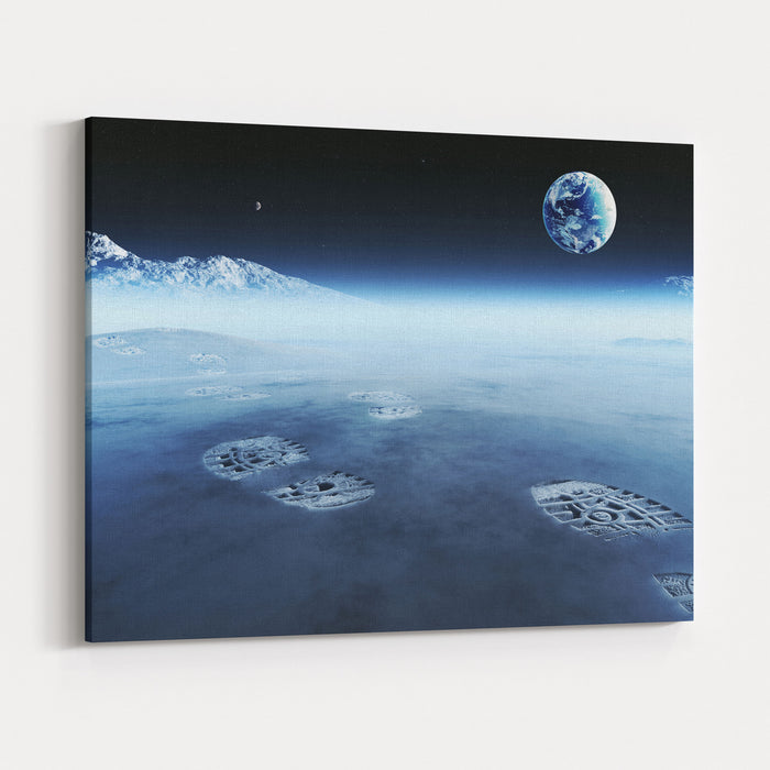 Conceptual Artwork Of Mankind Exploring Space And Alien Planets Footprints Are The Evidence Left Behind With The View Of Earth In Distant Space  Elements Of This D Render Furnished By NASA Canvas Wall Art Print