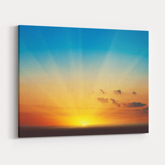 Beautiful Blazing Sunset Landscape At Over The Meadow And Orange Sky Above It Amazing Summer Sunrise As A Background Canvas Wall Art Print