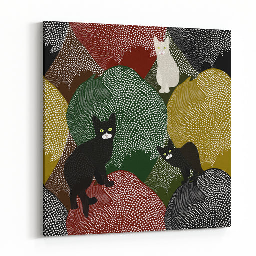 Abstract Sketch Of Fun Little Black And White Kittens  On A Colorful Background With Polka Dots,  Fashion Design, Animals Seamless Pattern,  Color Vector Prints Canvas Wall Art Print