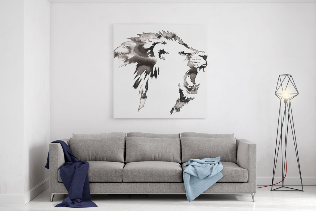 Black And White Painting With Water And Ink Draw Lion Illustration Canvas Wall Art Print