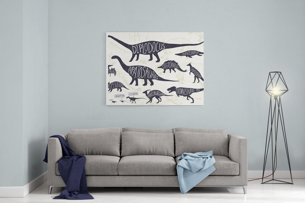 Set Of Silhouettes Of Dinosaurs And Fossils Hand Drawn Vector Illustration With Decorative Lettering Of Dinosaurs Names Man And Children, Comparison Of Realistic Size, Separated Elements Canvas Wall Art Print