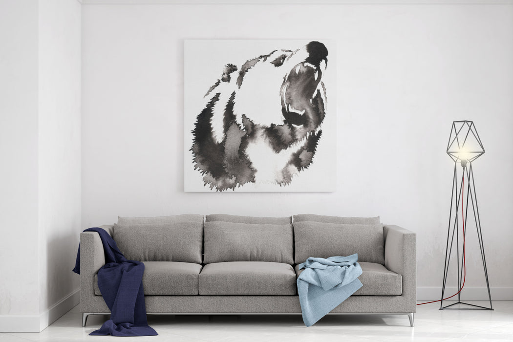 Black And White Painting With Water And Ink Draw Bear Illustration Canvas Wall Art Print