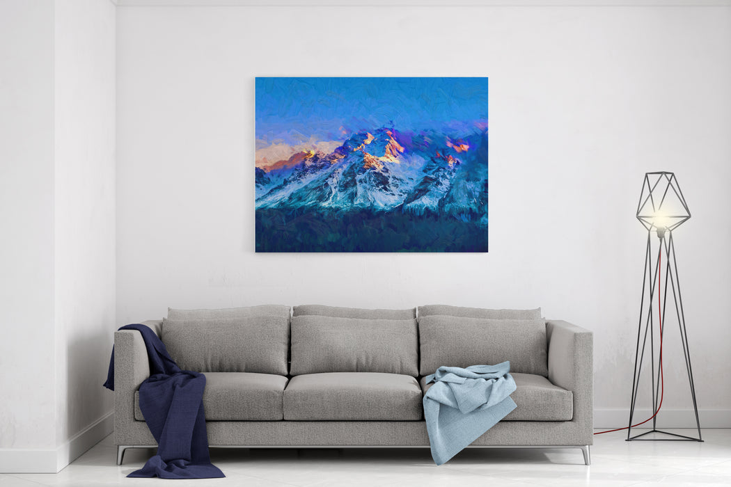 Abstract Digital Oil Painting On Canvas Landscape Field With Blue Sky Cloud Mountain In The Background At Xinjiang  In China Canvas Wall Art Print