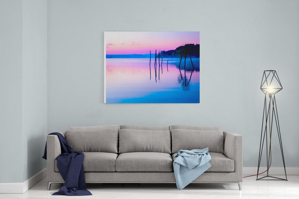 Beautiful Landscape With A Lake And Mountains In The Background And Trees In The Water Blue And Purple Color Tone Canvas Wall Art Print