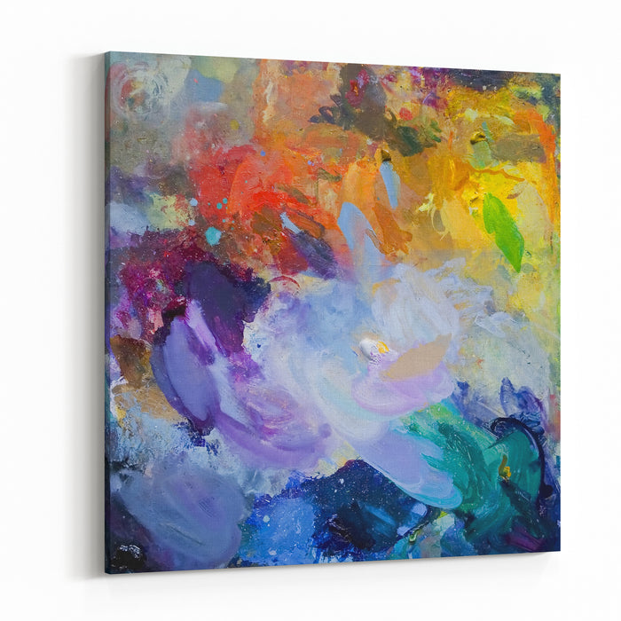 Oil Paint Mixed On A Palette Canvas Wall Art Print