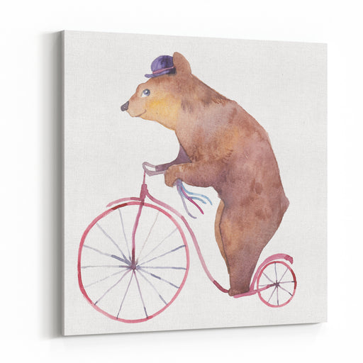 Watercolor Cartoon Bear On Retro Bicycle Hand Drawn Fairytale Animal With Hat And Vintage Transport On White Background Circus Magic Collection Canvas Wall Art Print