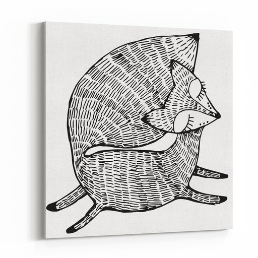 Stylized Fox Forest Animals Cute Fox Line Art Black And White Drawing By Hand Graphic Arts Tattoo Canvas Wall Art Print