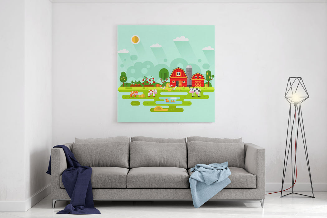 Flat Design Vector Rural Landscape Illustration With Farm Building, Barn, Garden, Beds Of Carrots, Tomatoes, Pumpkin, Cows, Ducks, Chickens Farming, Agricultural, Organic Products Concept Canvas Wall Art Print