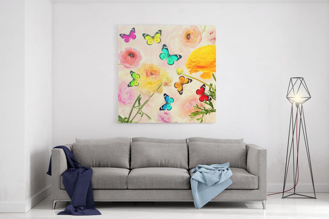 Colorful Beautiful Flowers And Butterflies Flying Sweet Blurred Gentle Buttercups In The Background Summertime Nature And Wildlife Abstract Background Canvas Wall Art Print