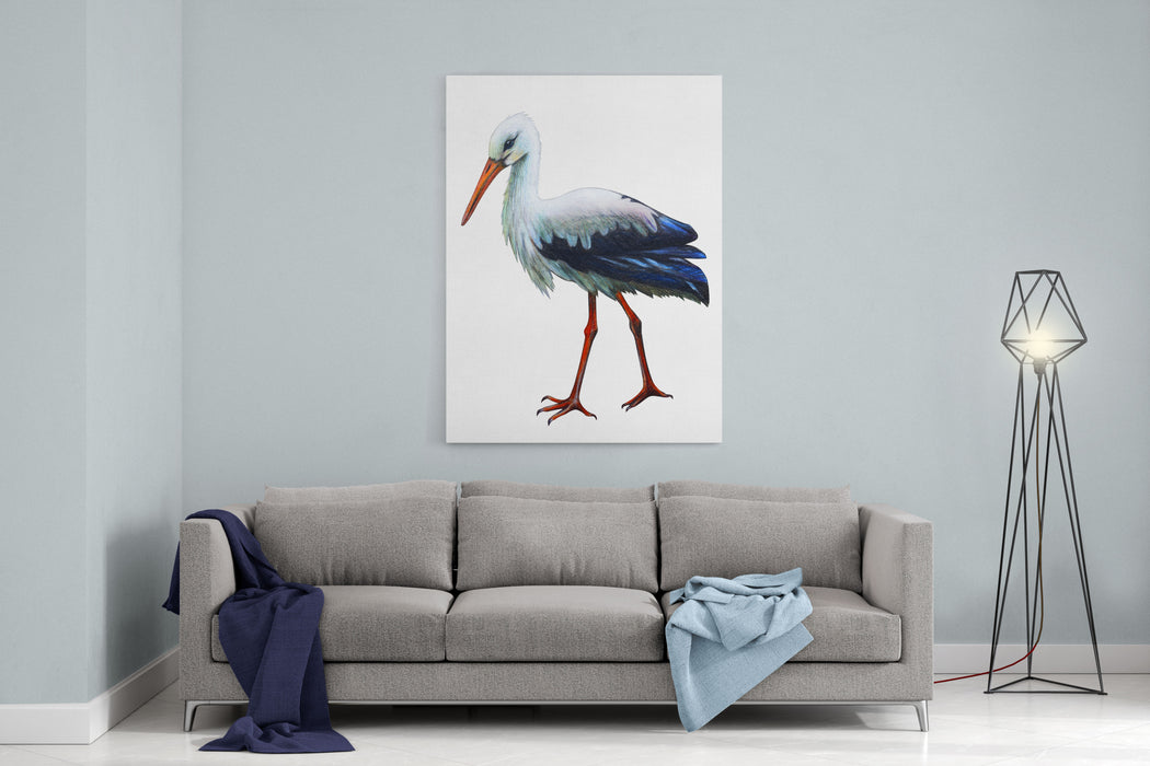 Stork Drawing Ciconia Canvas Wall Art Print