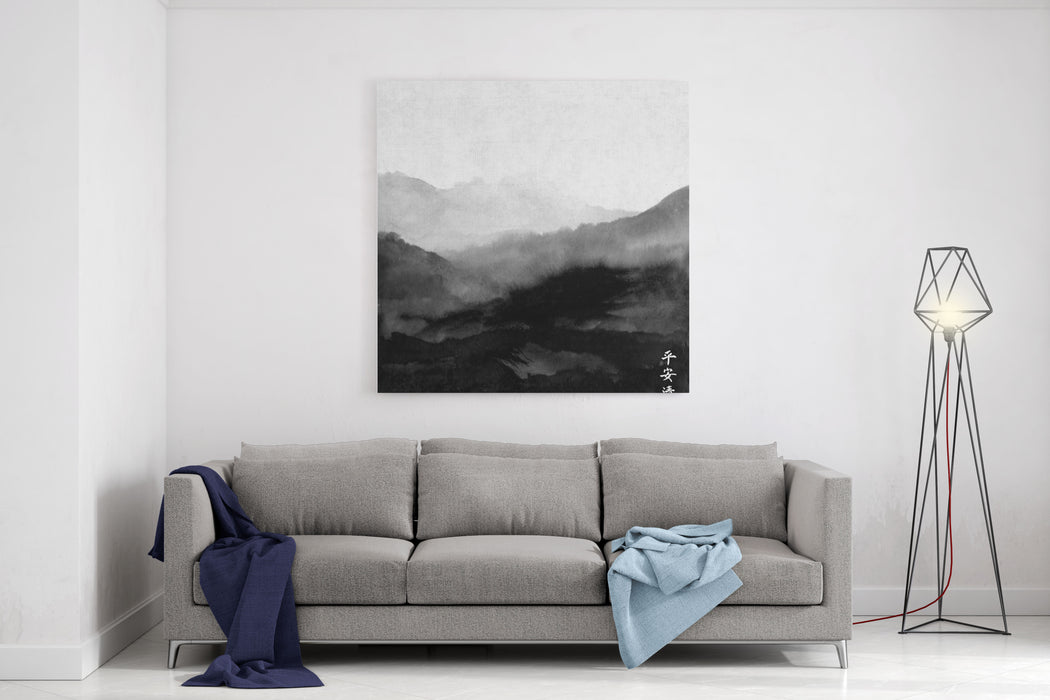 Landscape With Mountains Traditional Japanese Ink Painting Sumie Contains Hieroglyphs  Peace, Tranquility, Clarity Canvas Wall Art Print