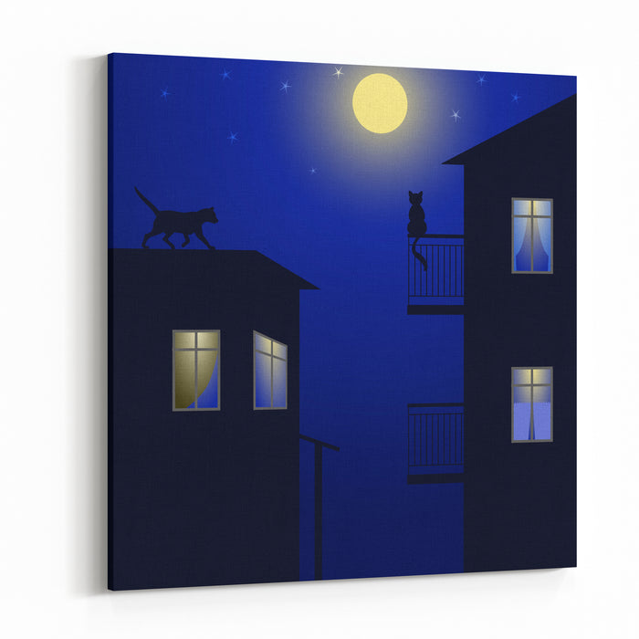 Cats On Roof Canvas Wall Art Print