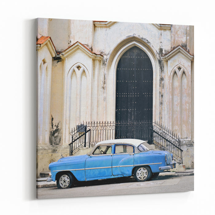 A View Of Classic American Old Car Parked In Front Of Havana Building Facade Canvas Wall Art Print