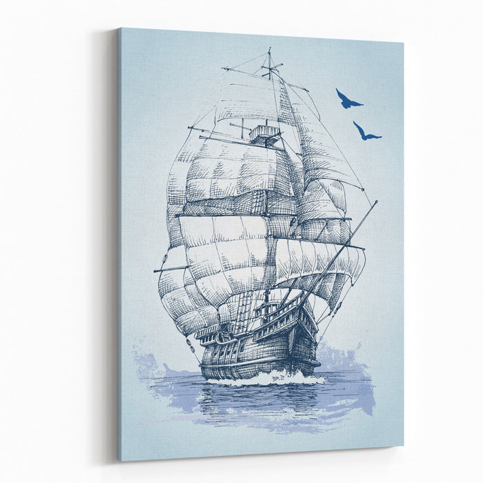 Boat On Sea Drawing Sailboat Vector Sketch Canvas Wall Art Print