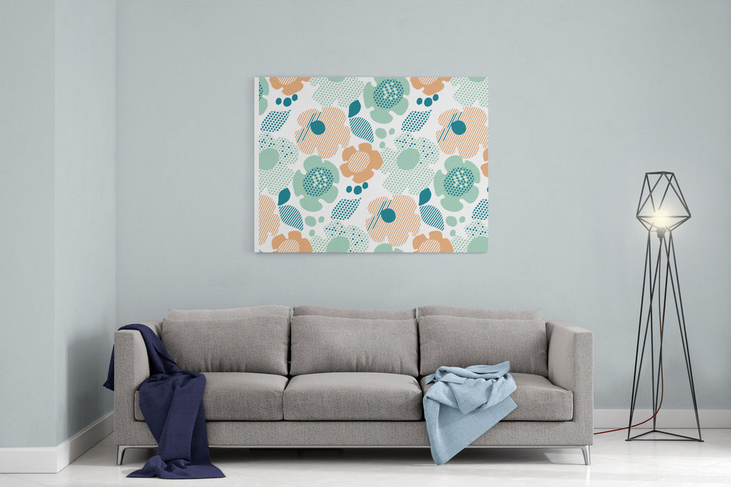 Abstract Stylized Floral Abstract Pale Color Floral Seamless Pattern Modern Textured  Geometry Flower Vector Illustration Pastel Green And Beige Daisy In S Style On White Background Canvas Wall Art Print