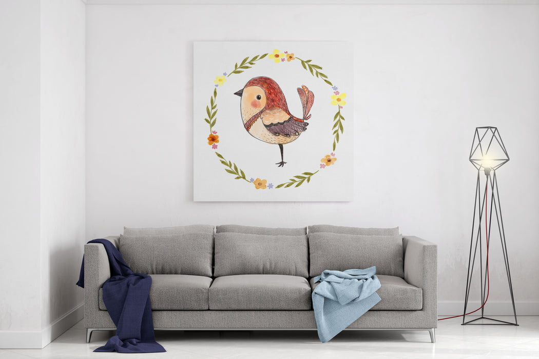 Cute Watercolor Bird With Floral Wreath Funny Kids Illustration Canvas Wall Art Print