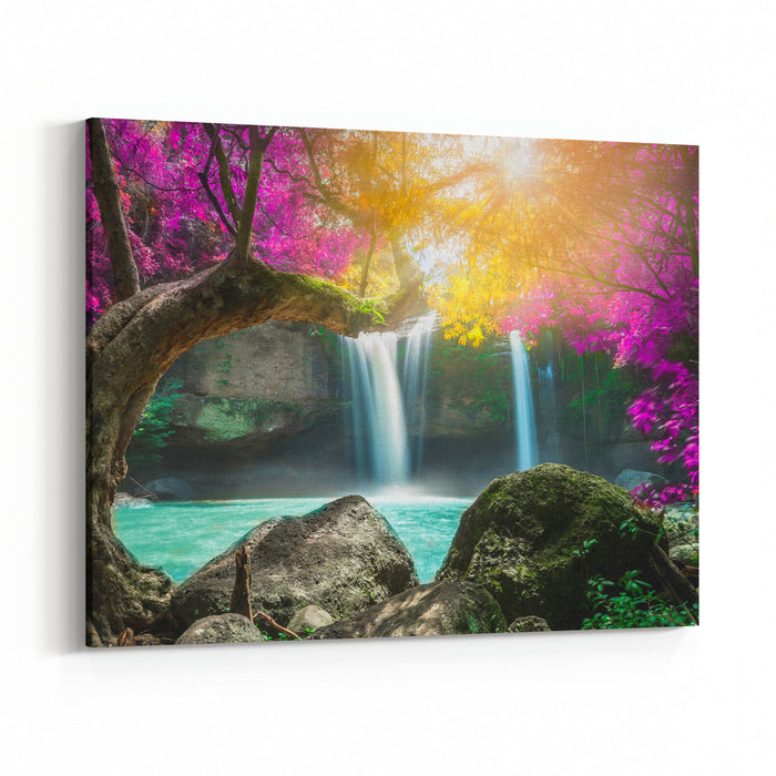 Amazing Waterfall In Autumn Forest With Sunlight Canvas Wall Art Print