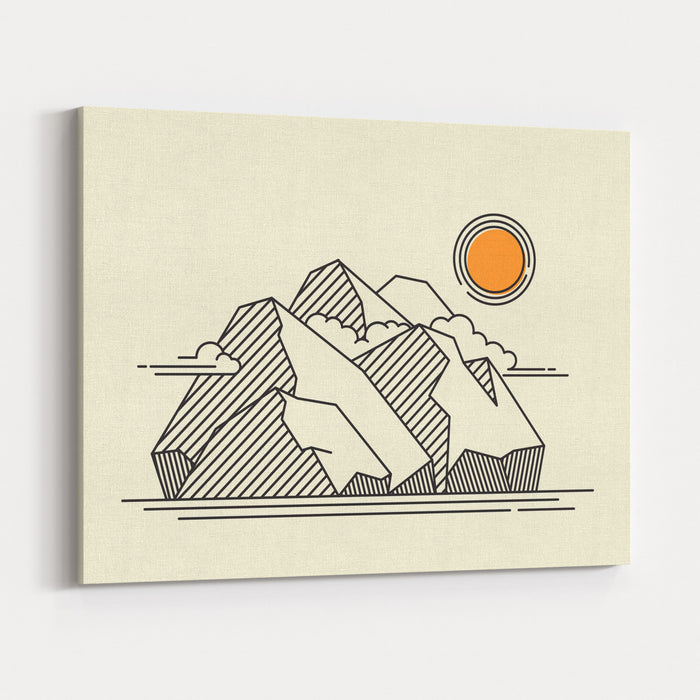 Mountains Landscape  Lineart Geometric Vector Illustration Canvas Wall Art Print