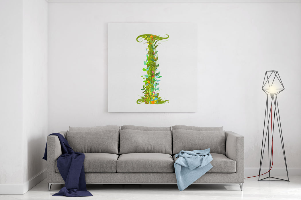 Alphabet Decorative Floral Letter I Flower Lettering Canvas Wall Art Print