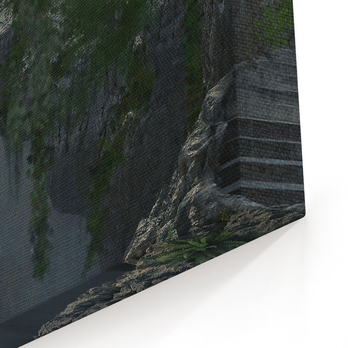 Fantasy Gateway Ruin In A Mountain And Landscape With Fog Canvas Wall Art Print