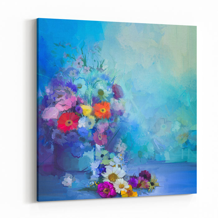 Oil Painting Flowers In Vase Hand Paint  Still Life Bouquet Of White,Yellow And Orange Sunflower, Gerbera, Daisy Flowers Vintage Flowers Painting In Soft Green, Blue And Purple Color Background Canvas Wall Art Print