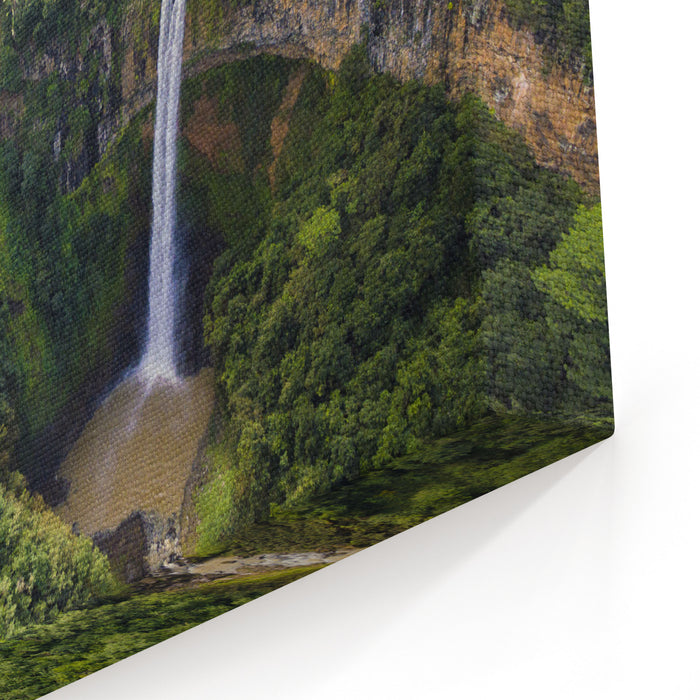 Aerial Top View Perspective Of Chamarel Waterfall In The Tropical Island Jungle Of Mauritius Canvas Wall Art Print