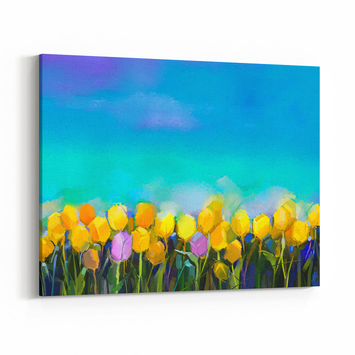 Oil Painting Tulips Flowers Hand Paint Yellow And Violet Tulip Flowers At Field With Green Blue Sky Background Spring, Summer Season Nature Background Semi Abstract Flower Painting Background Canvas Wall Art Print
