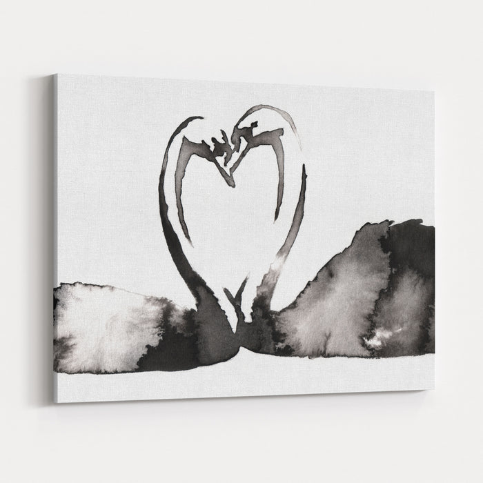 Black And White Monochrome Painting With Water And Ink Draw Swan Bird Illustration Canvas Wall Art Print