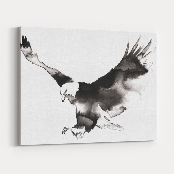 Black And White Monochrome Painting With Water And Ink Draw Eagle Bird Illustration Canvas Wall Art Print