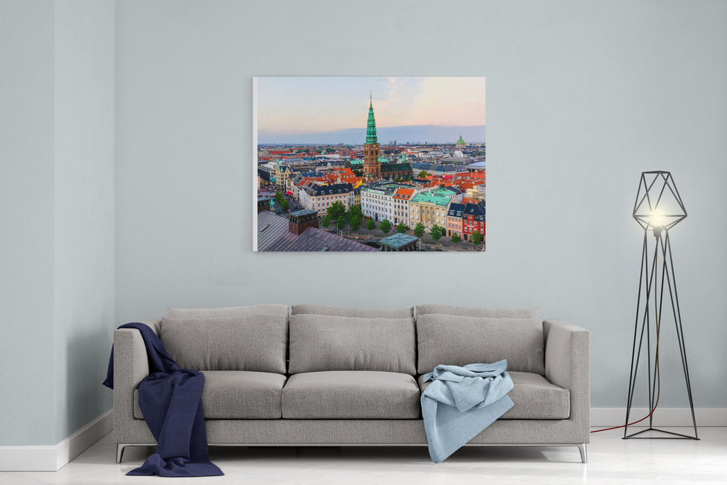 Copenhagen Skyline By Evening Denmark Capital City Streets And Danish House Roofs Copenhagen Old Town And Copper Spiel Of Nikolaj Church Panoramic View From Top Of Christiansborg Palace Canvas Wall Art Print