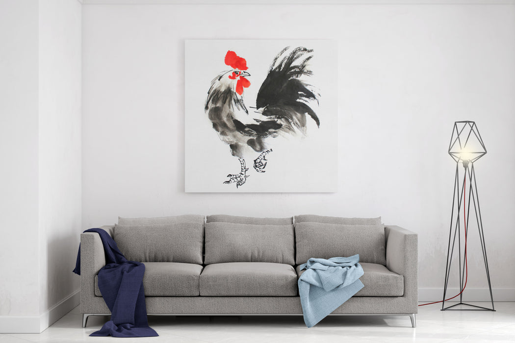 Chinese Ink Painting Illustration Rooster On White Background For Calendar, Banner Or Placard Symbol Of Chinese New Year Canvas Wall Art Print