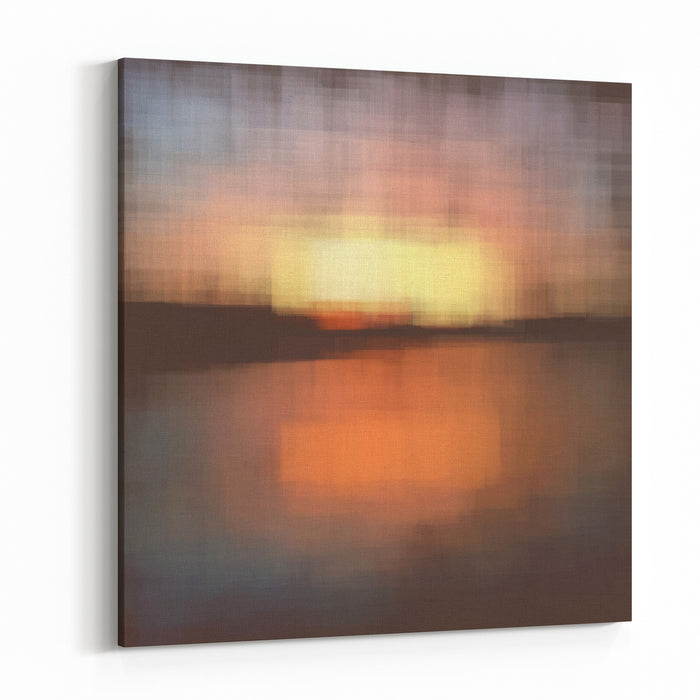 Vector Canvas Painting Landscape Sunset Canvas Wall Art Print