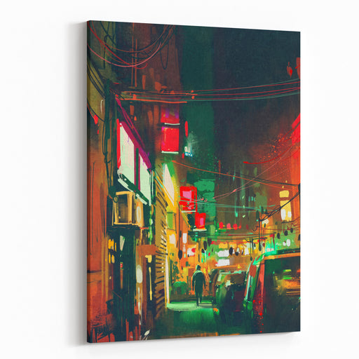Sidewalk In The City At Night With Colorful Light,digital Painting Canvas Wall Art Print