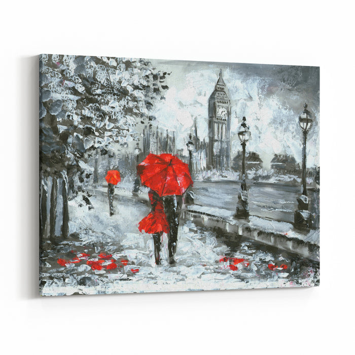 Oil Painting, Street View Of London Artwork, Black, White And Red, Big Ben Canvas Wall Art Print