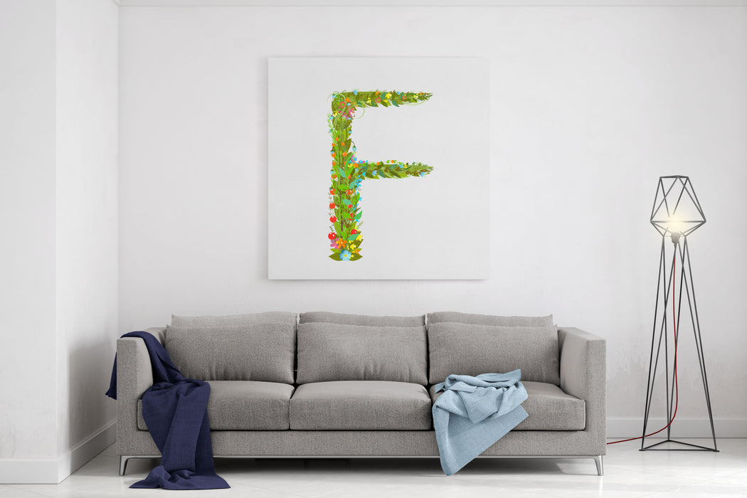 Alphabet Letter F Elegant Flower Blooming Botanical Sign Flower ABC Sign F Floral Summer Colorful Intricate Calligraphy Design Element Vector Illustration Canvas Wall Art Print