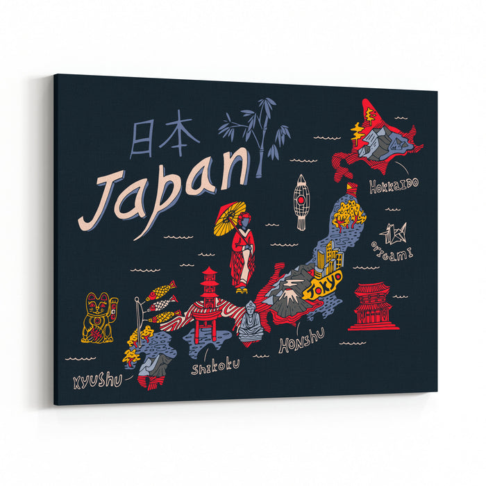 Illustrated Map Of Japan Canvas Wall Art Print
