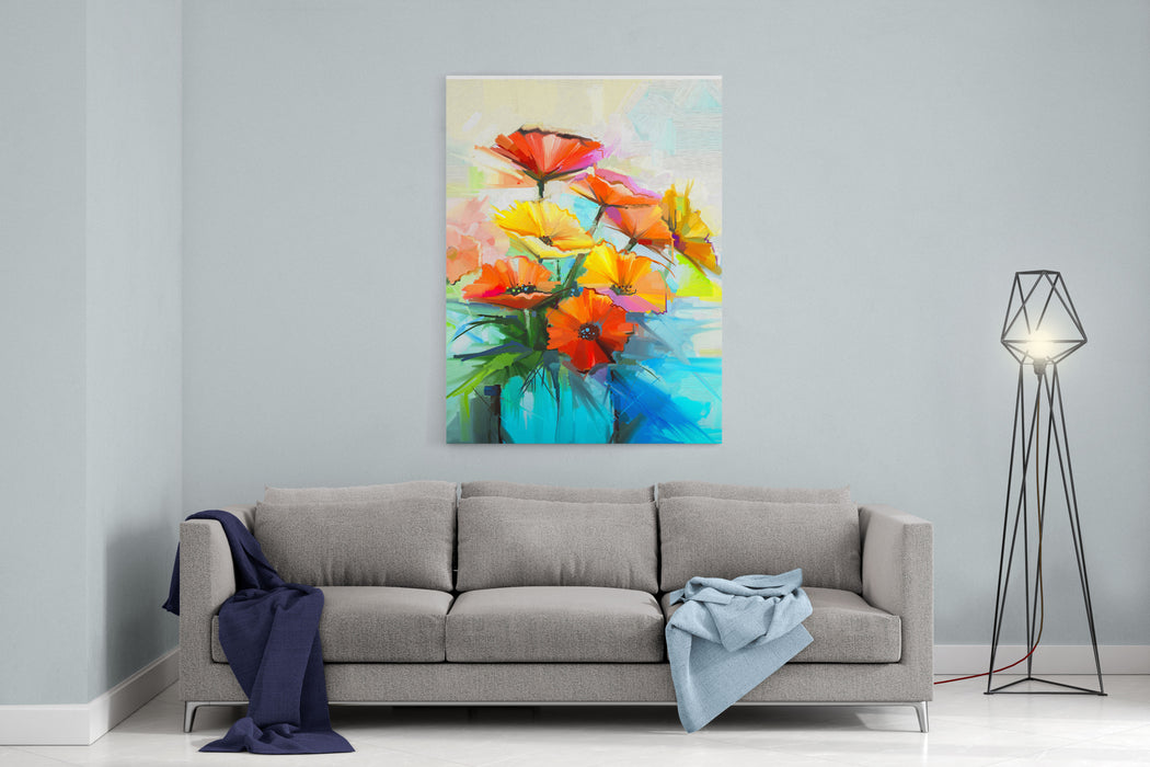 Oil Painting Spring Flower Background Still Life Of Yellow, Pink, Red Gerbera Bouquet In Vase Colorful Flowers Painting With Light Gray Yellow Background Hand Painted Floral Impressionist  Style Canvas Wall Art Print