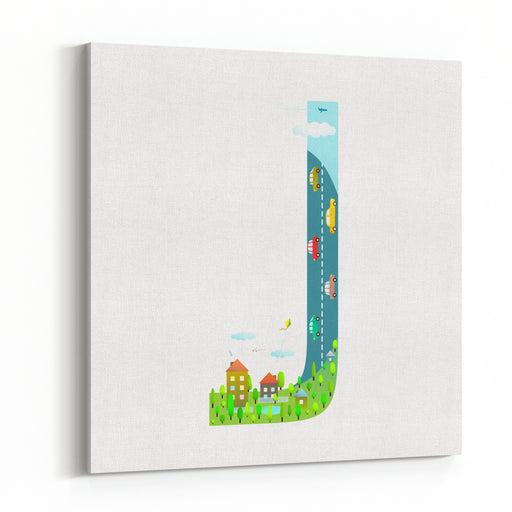 Letter J Cartoon Childish Alphabet With Road Cars And City For Children Boys And Girls With City, Houses, Cars, Trees Learning, Teaching, Studying Abc, Flat Style Vector Illustration Canvas Wall Art Print