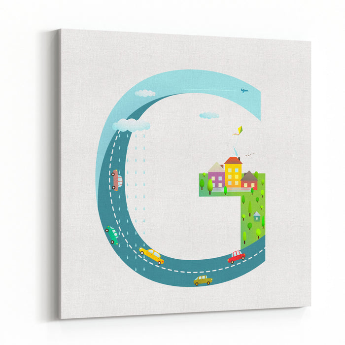 Letter G Of The Latin Alphabet Funny Cartoon ABC For Children For Children Boys And Girls With City, Houses, Cars, Trees Learning, Teaching, Studying Abc, Flat Style Vector Illustration Canvas Wall Art Print