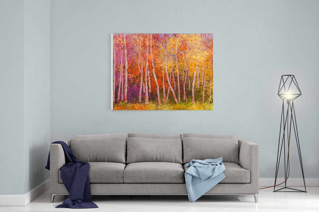 Oil Painting Landscape  Colorful Autumn Trees Semi Abstract Image Of Forest, Aspen Trees With Yellow And Red Leaf  Autumn, Fall Season Nature Background Hand Painted Landscape, Impressionist Style Canvas Wall Art Print