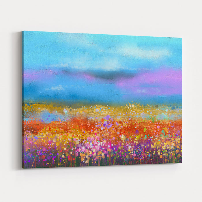 Abstract Colorful Oil Painting Landscape Background Semi Abstract Image Of Wildflower And Field Yellow And Red Wildflowers At Meadow With Blue Sky Spring, Summer Season Nature Background Canvas Wall Art Print