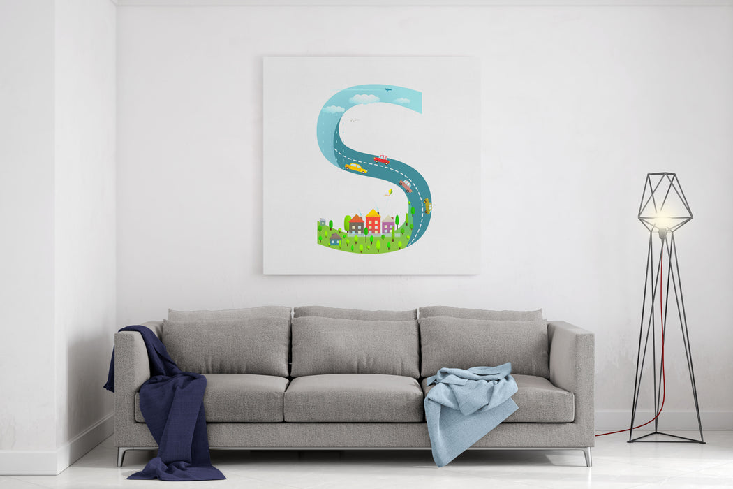 Alphabet Letter S Cartoon Flat Style For Children For Kids Boys And Girls With City, Houses, Cars, Trees Learning, Teaching, Studying Abc, Flat Style Vector Illustration Canvas Wall Art Print