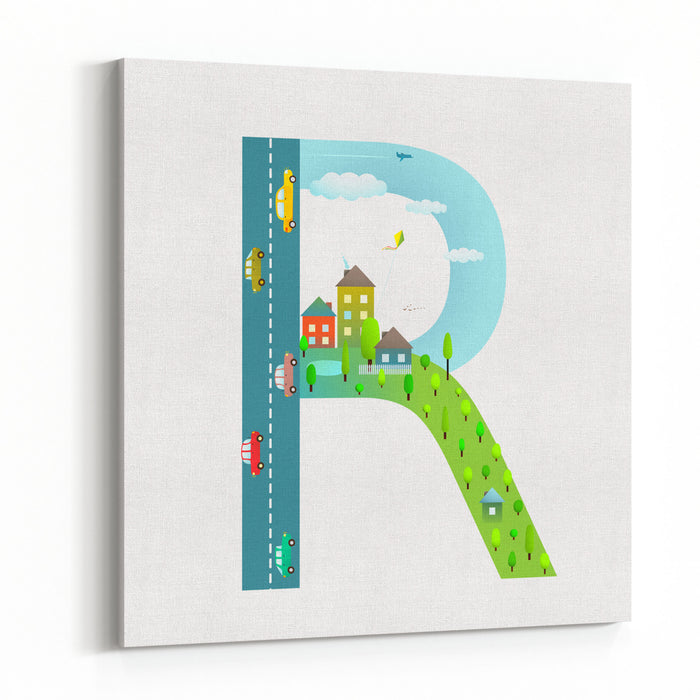 Alphabet Letter R Cartoon Flat Style For Children Fun Alphabet Letter For Kids Boys And Girls With City, Houses, Cars, Trees Learning, Teaching, Studying Abc, Flat Style Vector Illustration Canvas Wall Art Print