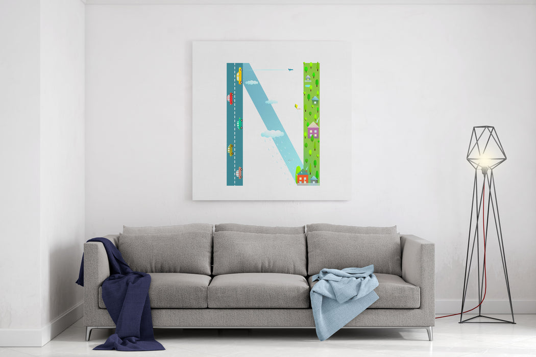 Alphabet Letter N Cartoon Flat Style For Kids Fun Alphabet Letter For Children Boys And Girls With City, Houses, Cars, Trees Learning, Teaching, Studying Abc, Flat Style Vector Illustration Canvas Wall Art Print