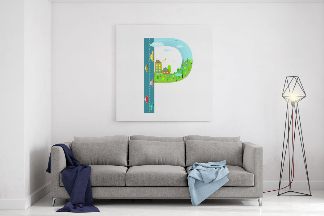 Alphabet Letter P Cartoon Flat Style For Kids Fun Alphabet Letter For Children Boys And Girls With City, Houses, Cars, Trees Learning, Teaching, Studying Abc, Flat Style Vector Illustration Canvas Wall Art Print