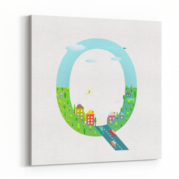 Alphabet Letter Q Cartoon Flat Style For Kids Fun Alphabet Letter For Children Boys And Girls With City, Houses, Cars, Trees Learning, Teaching, Studying Abc, Flat Style Vector Illustration Canvas Wall Art Print