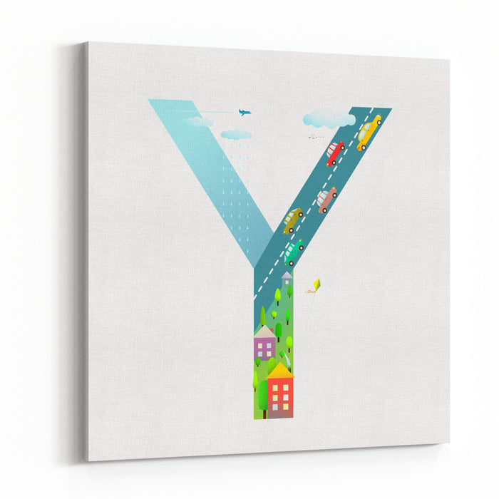Kids Letter Y Sign Cartoon Alphabet With Cars And Houses For Children Boys And Girls With City, Houses, Cars, Trees, Village Learning, Teaching, Studying Abc, Flat Style Vector Illustration Canvas Wall Art Print
