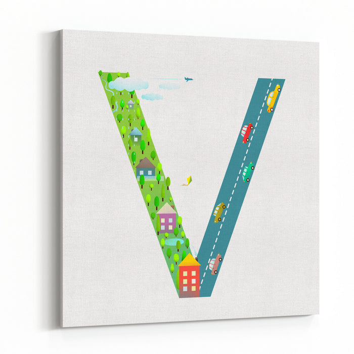 Kids Letter V Sign Cartoon Alphabet With Cars And Houses For Children Boys And Girls With City, Houses, Cars, Trees, Village Learning, Teaching, Studying Abc, Flat Style Vector Illustration Canvas Wall Art Print